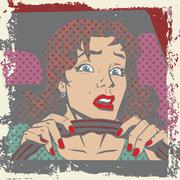 Scared woman driver behind the wheel of a car pop art comics re - stock illustration