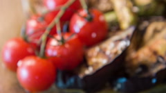 Selective focus on appetizing grilled vegetables - stock footage