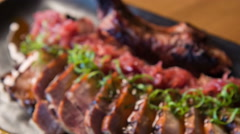 Selective focus on wonderful meat meal Stock Footage