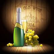 wine and grapevine - stock illustration