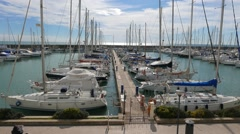 Yachts in the port of Ostia, Italy Stock Footage