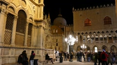 Venice, San Marco Square at midnight. Stock Footage