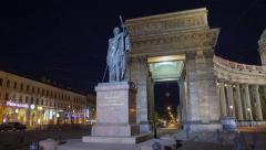 Kutuzov monument night motion timelapse 4K Stock Footage