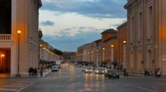 Via della Conciliazione, Evening. Rome, Italy. 4K Stock Footage