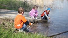 Kids Fishing Stock Footage