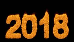 Burning 2018 year with numbers made of flames - stock footage