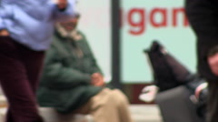 Homeless man talking to himself Stock Footage