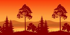 Seamless Landscape, Trees on Bank of Mountain Lake Stock Illustration