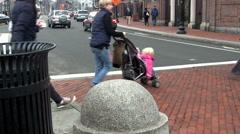 Pedestrians crossing street Stock Footage