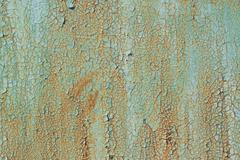 Texture of old green peeling paint Stock Photos