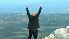 Exulting businessman on the top of a mountain: reaching the success Stock Footage