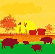 Stock Illustration of Herd of pigs on nature background