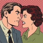 Conflict man woman family quarrel love hate pop art comics retro Stock Illustration