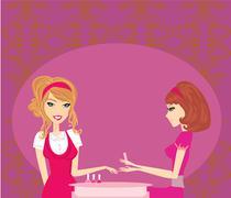 Girl doing manicure in beauty salon Stock Illustration
