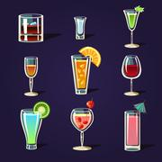 Alcohol Coctails and Other Drinks - stock illustration
