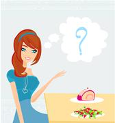 Stock Illustration of a girl who cannot decide what to eat