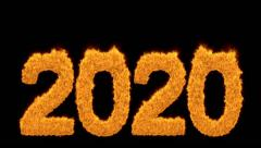 Burning 2020 year with numbers made of flames Stock Footage
