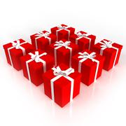 Red gift boxes neatly arranged Stock Illustration