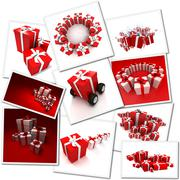 Collage of red gifts - stock illustration