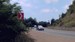 Movement of vehicles on mountain highway 2 Stock Footage