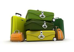 Baggage set in green and acid colours - stock illustration
