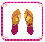 Pair of flip flops Stock Illustration