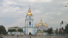 UKRAINE. KIEV. AUGUST 2011: St. Michael's Golden-Domed Monastery - stock footage
