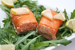 salmon and rucola - stock photo