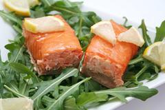 Salmon and rucola Stock Photos