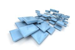 Pale blue particles - stock illustration