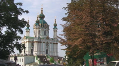 Stock Video Footage of UKRAINE. KIEV. AUGUST 2011: St Andrew's Church and Hill