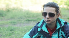 Girl campfire Stock Footage