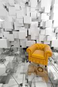 Stock Illustration of Yellow club armchair on designer interior