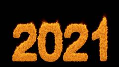 Burning 2021 year with numbers made of flames Stock Footage
