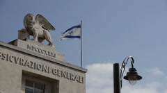 Lion sculpture on the roof of building jerusalem israel Stock Footage