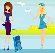 Stock Illustration of beauty travel girl in the airport