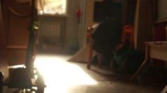 Human leg walking on flat backlit Stock Footage