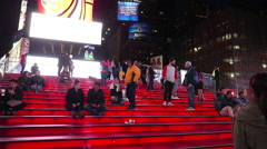 The red stairs of Father Duffy Square at Times Square Manhattan Stock Footage