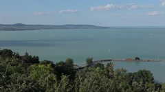 HUNGARY. BUDAPEST. JUNE 2011: Top view of the lake Balaton Stock Footage