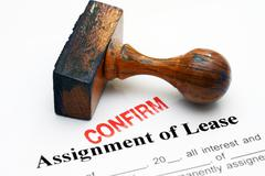 Assignment of lease - confirm Stock Photos