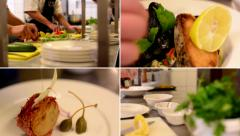 4K montage (compilation) - restaurant - chefs prepares food in the kitchen Stock Footage