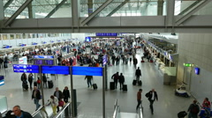 Crowded Airport Terminal Frankfurt Airport Germany Stock Footage