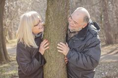 Happy Elderly Senior Romantic Couple have fun in nature, Old people portrait  - stock photo