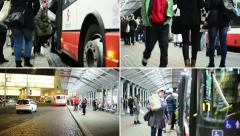 4K montage (compilation) - bus station people wait and get on the bus  - road Stock Footage