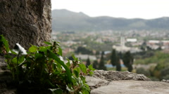 Stari Bar focus to city and mosque in Bar Montenegro Stock Footage