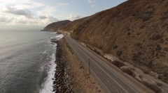 Aerial. Flying over a closed road after the accident. Empty Pacific Coast Hwy - stock footage