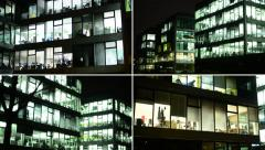 4K montage (compilation) - business buildings (offices) - night - windows - stock footage