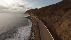 Aerial. Flying over a closed road after the accident. Empty Pacific Coast Hwy Stock Footage