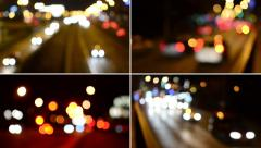 4K montage (compilation) - night city - night urban street with cars - lamps - stock footage