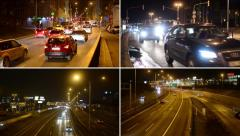 4K montage (compilation) - night highway road with cars - night city - lights - stock footage